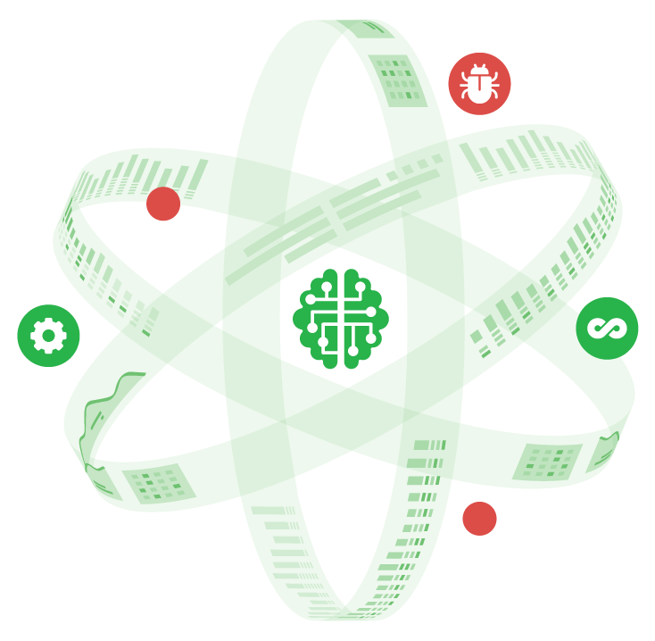 Atom Symbol representing Omni Testing with a brain icon, bug icon, other testing tools